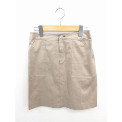 【中古】アナイ ANAYI スカート 台形 ひざ丈 ジップフライ ポケット 無地 シンプル 綿 コットン 38 茶 ベージュ /TT35