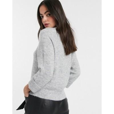 マンゴ レディース ニット&セーター アウター Mango ribbed neck sweater in gray Gray