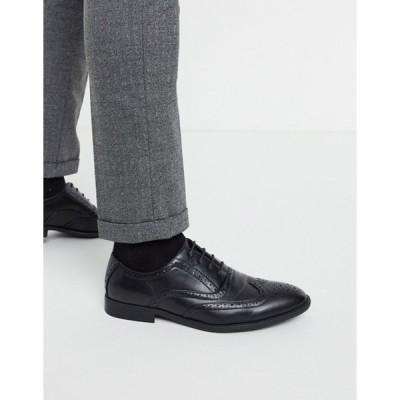 エイソス メンズ スリッポン・ローファー シューズ ASOS DESIGN brogue shoes in black faux leather