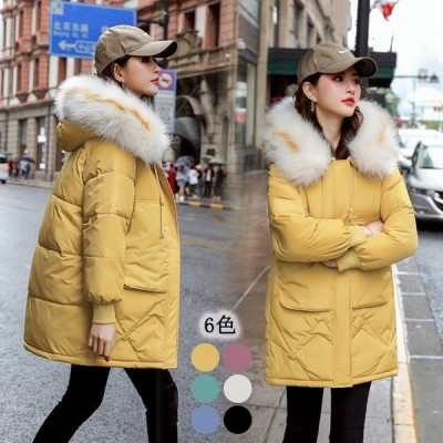 人気 中綿コート レディース 20代 大きいサイズ 6色入 フード付き ファー お洒落 ミディアムコート アウター 冬 防寒 ダウンコート 保温
