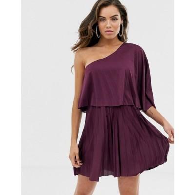 エイソス ASOS DESIGN レディース ワンピース ワンピース・ドレス One shoulder pleated mini dress Aubergine