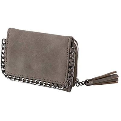 コンパクト 三つ折り財布 チェーン ミニ タッセルチャーム 小銭入れ お札入れ ウォレット 小型 軽量 かわいい サイフ(R22 グレー)