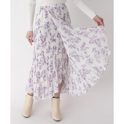 スカート プリーツフラワーラップスカート