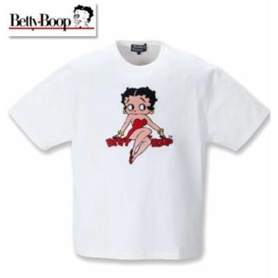 大きいサイズ BETTY BOOP サガラ刺繍半袖Tシャツ オフホワイト 3L 4L 5L 6L 8L/1278-1281-1-54