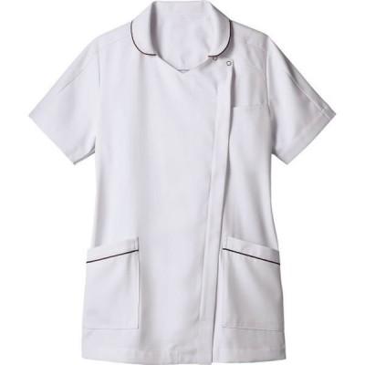 住商モンブラン住商モンブラン ナースジャケット 半袖 白×ワイン 6L 73-2116(直送品)