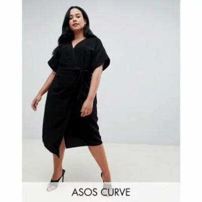 エイソス ワンピース ASOS DESIGN Curve wrap midi dress Black