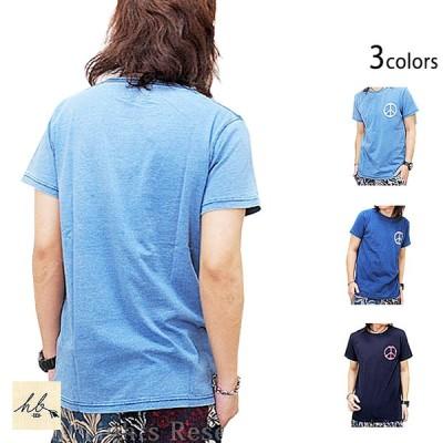 インディゴカットワーク半袖Tシャツ「ピース」◆HB