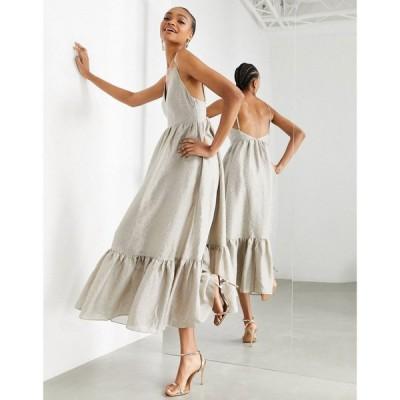 エイソス ASOS EDITION レディース ワンピース キャミワンピ Aライン Asos Edition Textured Cami Midi Dress With Tiered Hem In Sand サンド