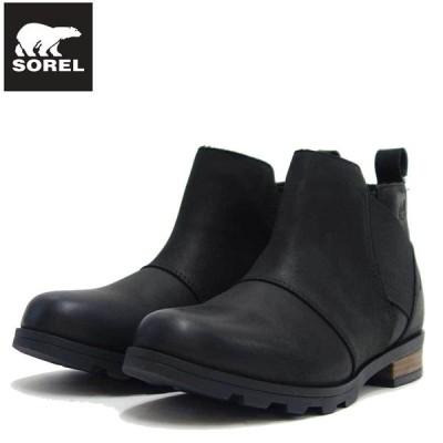 ソレル SOREL NL 2671(レディース) エミリーチェルシー:ブラック (010)   防水レザー サイドゴア アンクル ショート ブーツ ウォータープルーフ