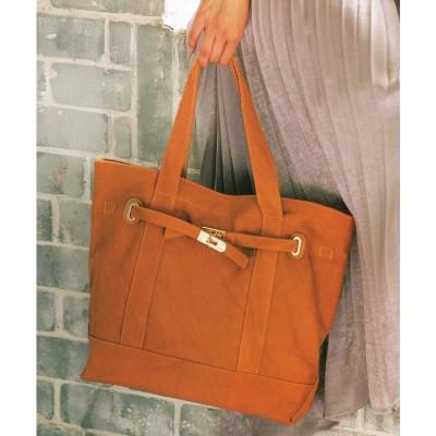 ジーラ GeeRA たっぷり収納の金具デザインバッグ (キャメル)