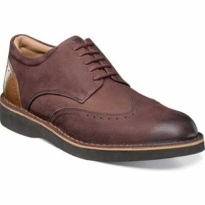 フローシャイム 革靴・ビジネスシューズ Navigator Wingtip Derby Burgundy Milled Nubuck/Smooth Leather