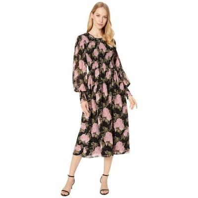 ワイフ レディース ワンピース トップス Crush Smocked Bodice Long Sleeve Midi Dress