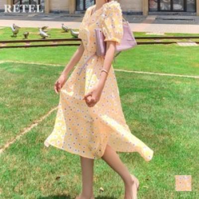 花柄ロングワンピース レディース春夏 S M L ワンカラー イエロー 服 ワンピース 半袖 Vネック 花柄 フラワー柄