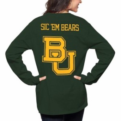 Pressbox プレス ボックス スポーツ用品  Pressbox Baylor Bears Womens Green The Big Shirt Oversized Long Sleeve T-Shirt