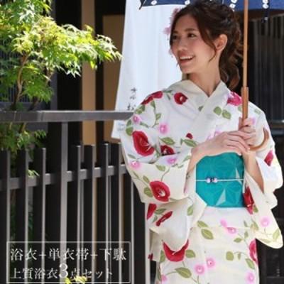 浴衣 レディース レトロ 大人 染色&生地が日本製 高級変わり織り浴衣3点セット「ベージュ地に椿」 浴衣 花柄