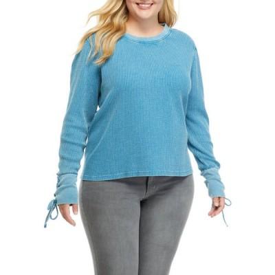 トゥルー クラフト レディース シャツ トップス Plus Size Lace Up Cuff Sweater