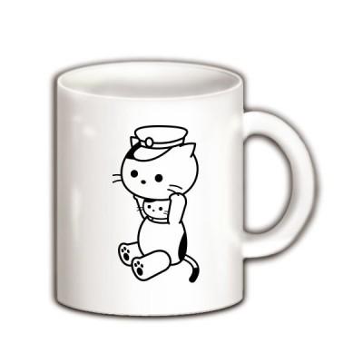 着ぐるみバイトねこ(鉄道・運転送迎のお仕事) マグカップ(ホワイト)