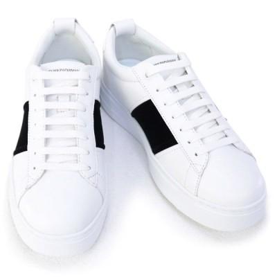 訳あり エンポリオアルマーニ EMPORIO ARMANI 靴 メンズ スニーカー ホワイト×ブラック <br>(X4X287 XM484 L007 OPT.WHITE+BLACK+OPT.WHITE) 2020年秋冬