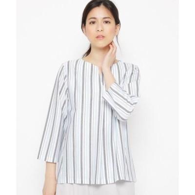 esche / エッシュ キーネックマルチストライプシャツ