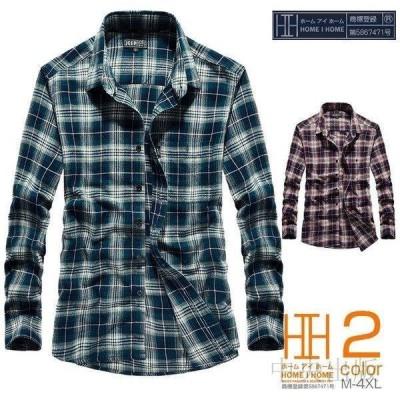 チェックシャツ メンズ 長袖 ギンガムチェック アメカジ 胸ポケット カジュアル トップス 羽織り