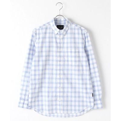 PAPAS/パパス コットンネップチェックシャツ ブルー系ブロックチェック LL