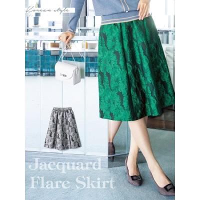 【大きいサイズ】ジャガードフレアスカート 大きいサイズ スカート レディース