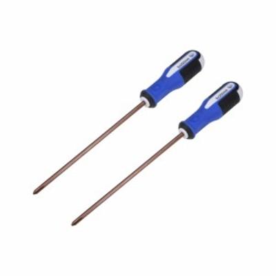 uxcell 6mmフィリップスPH2磁気ドライバー 200mm S2スチール 丸軸 非スリップ ブラック+ブルー+ホワイトハンドル 2個