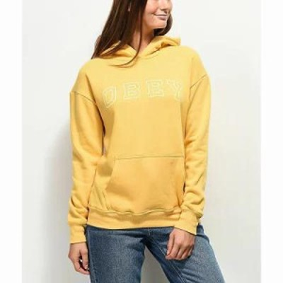 オベイ パーカー Core Varsity Arched Delancey Yellow Hoodie Yellow