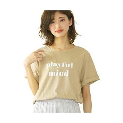 [アドティエ] ロゴプリントTシャツ Tシャツ カットソー トップス 半袖 レディース ロゴ カジュアル (ベージュ Free Size)
