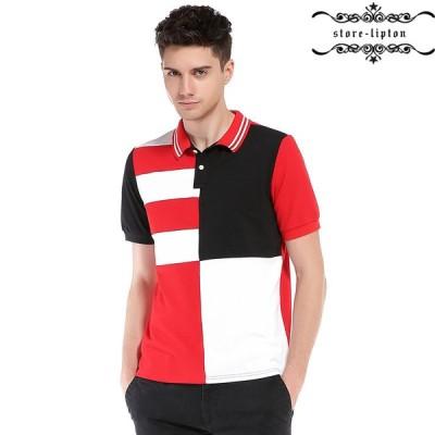 ポロシャツ 半袖 メンズ 夏 20代 30代 40代 通勤 上品 カジュアル レッド ブラック ゴルフ ウェア プリント