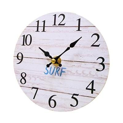 サーフ スタンドクロック 15cm (サーフ/WH) 置時計 おしゃれ 置き時計 アナログ 木製 小さい サーフィン 波 海 ウエーブ 新生