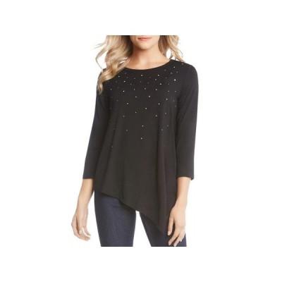 レディース 衣類 トップス Karen Kane Womens Rhinestone Asymmetrical T-Shirt Black XS ブラウス&シャツ