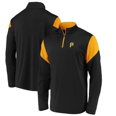 """ファナティックス メンズ ジャケット """"Pittsburgh Pirates"""" Fanatics Branded Primary Logo Quarter-Zip Jacket - Black"""