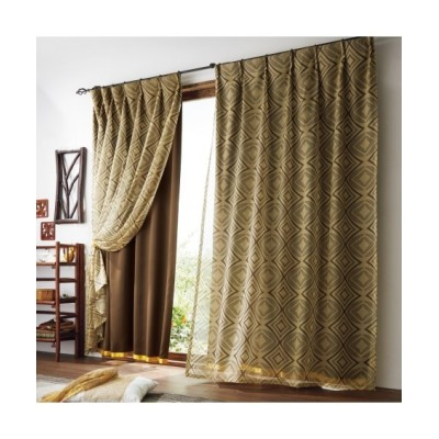 【送料無料!】アジアンレース重ね遮熱・遮光カーテン ドレープカーテン(遮光あり・なし) Curtains, blackout curtains, thermal curtains, Drape(ニッセン、nissen)