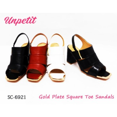 【SALE】Unpetit スクエアトゥ サンダル ゴールドプレート チャンキーヒール クッション SC6921