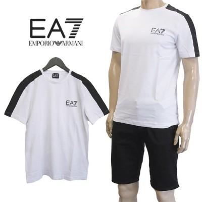 エンポリオアルマーニ EMPORIO ARMANI EA7 ブランドロゴライン Tシャツ 3GPT07-PJ03Z-1100 ホワイト×ブラック