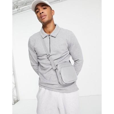 オンリーアンドサンズ スウェット トレーナー メンズ Only & Sons sweat polo 1/4 zip in grey エイソス ASOS グレー 灰色
