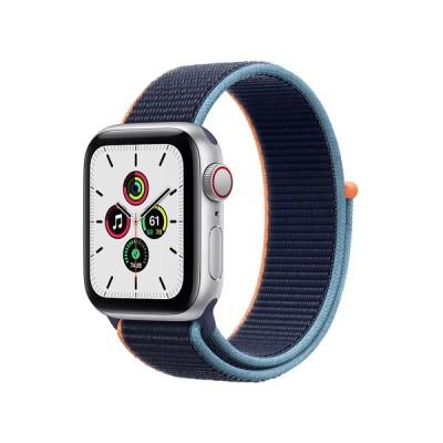 Apple Watch SE GPS+Cellularモデル 40mm シルバーステンレススチールケースとディープネイビースポーツループ レギュラー MYEG2J/A