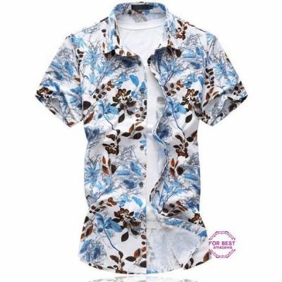カジュアルシャツ アロハシャツ メンズ ハワイ 花柄シャツ 半袖 シャツ 涼しい カジュアル 爽やか 祭り 結婚式 父の日