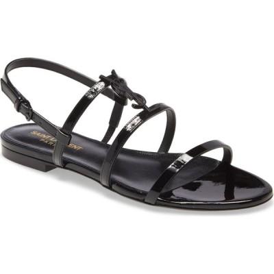 イヴ サンローラン SAINT LAURENT レディース サンダル・ミュール シューズ・靴 Cassandra YSL Logo Strappy Sandal Black