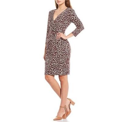 ジェシカハワード レディース ワンピース トップス 3/4 Sleeve V-Neck Side Twist Printed Sheath Dress