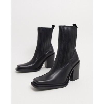 マンゴ Mango レディース ブーツ スクエアトゥ シューズ・靴 Square Toe Leather Heeled Boots In Black ブラック