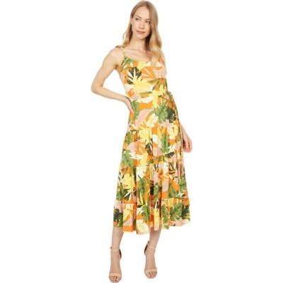 ロンドンタイムス London Times レディース ワンピース マキシ丈 ワンピース・ドレス Bali Tropical Printed Jersey Maxi with Braided Straps Mandarine