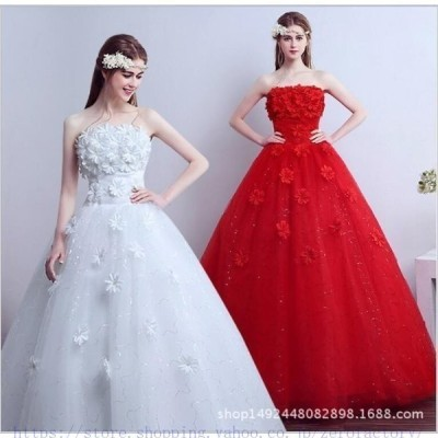花嫁ドレスウェディングドレスウエディングドレス編み上げレース刺繍ドレスロングドレス花嫁ドレスベアトップビ二次会