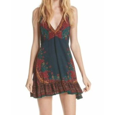 Free People フリーピープル ファッション ドレス Free People Womens Green Size Small S Paisley V-Neck A-Line Dress