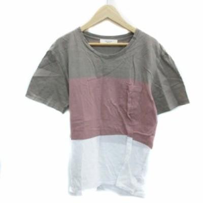 【中古】エディフィス EDIFICE Tシャツ カットソー 半袖 Vネック 鹿の子 M マルチカラー 茶 ブラウン /YS6 レディース