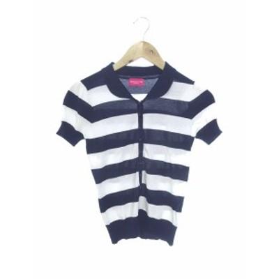 【中古】アプワイザーリッシェ CRUISE セーター ニット ラウンドカラー 半袖 ハーフボタンアップ 2 紺 白 レディース