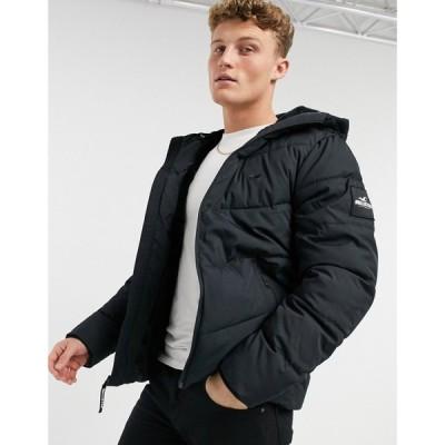 ホリスター Hollister メンズ ダウン・中綿ジャケット フード アウター faux fur lined hooded puffer jacket in black ブラック