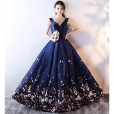 ロングドレス パーティードレス ハイウエスト 花柄 エレガント 大きいサイズ お呼ばれ 結婚式 二次会 発表会 披露宴 演奏会 韓国 ファッ
