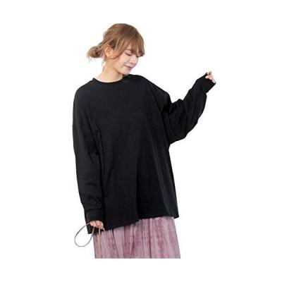 アドティエ ロングTシャツ オーバーサイズ カットソー シンプル 無地 インナー 重ね着 部屋着 袖リブ 11104002ブラックF